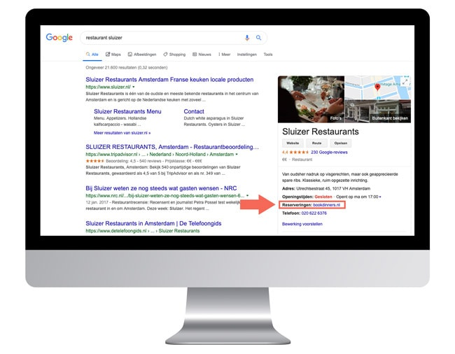 Google reserveringslink